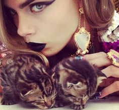 Cara Delevingne by Nick Knight Playfully Poses with Baby Pets