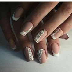 A fashion for the matte finish is not spared a wedding manicure. A woman never regret it, if she chooses a classic french. If you are ready for bold experi