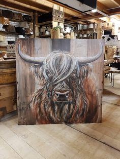 Scottish Highlander reproduction at K&H Decoraties Geffen - Modern Highland Cow Painting, Highland Cow Art, Scottish Highland Cow, Cow Pictures, Farm Art, Pallet Art, Horse Art, Animal Paintings, Art Techniques