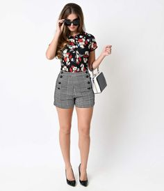 This one's a hot button issue, darlings! These prodigiously patterned high waisted shorts are flocked in velvet houndstooth and exceptionally resilient, hugging curves without restricting movement. An adorable symmetrical buttoned bib front with side pock