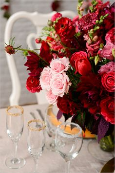 shades of red and pink flowers