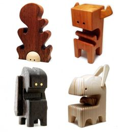 "Swiss artist and model-maker, Pepe Hiller. ""smallstuffpepe,"" Zurich     1 WHAAGBLOCK  – 2.5″ Alder Wood Toy (No.06/09)  1 AARGHBLOCK – 4″ Pear Wood Toy (No.06/09)  2 WOODSPRITES  – 4″ Sapele"