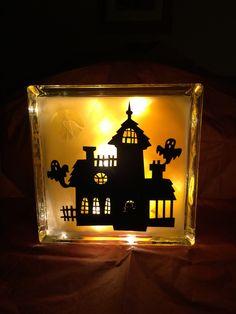 Halloween 8X8 glass block with lights