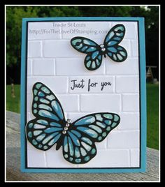 ~For The Love of Stamping~: Watercolor Wings & Brick Wall Embossing Folder