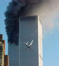 Vintage 9.11.2001, second plane as it approaches impact with the WTC North Tower, NYC, www.RevWill.com