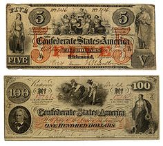 Two banknotes for Confederate States of America dollars, in five (top) and 100 dollar (bottom) amounts.