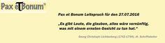Pax et Bonum Leitspruch für den 27.07.2016