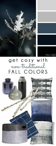 COZY FALL COLORS! A simple mood board to help you bring these non-traditional fall colors of navy and gray into your home decor.