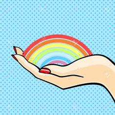 Mujer Que Sostiene Un Arco Iris Ilustraciones Vectoriales, Clip Art Vectorizado Libre De Derechos. Pic 27564389.