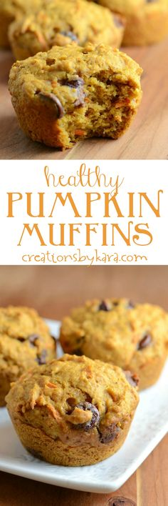 Healthy Pumpkin Muffins made with honey, whole wheat, and grated carrots. So yummy! Even my kids love these pumpkin muffins. Köstliche Desserts, Delicious Desserts, Dessert Recipes, Yummy Food, Yummy Yummy, Pumpkin Recipes, Fall Recipes, Sweet Recipes, Pumpkin Dishes