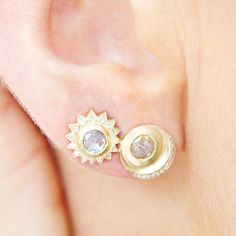 e8bf4b75d Rose Cut Diamond Sun and Crescent Studs - 14k Gold - Logan Hollowell Jewelry  Rose Cut