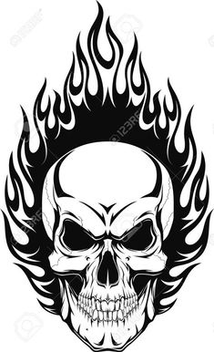 Vector Vector Illustration Of A Human Skull With Flames Royalty Free Cliparts, Vectors, And Stock Illustration. Image Illustration Of A Human Skull With Flames Royalty Free Cliparts, Vectors, And Stock Illustration. Skull Tattoo Design, Skull Design, Skull Tattoos, Sleeve Tattoos, Tattoo Designs, Airbrush Art, Skull Stencil, Flame Tattoos, Totenkopf Tattoos