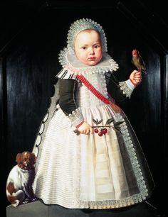 Wybrand Symonsz de Geest-Portrait of a young boy holding a parrot