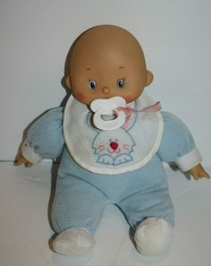 "Hong Kong City Toy Soft Baby DOLL 10"" Blue PJs Plush Pacifier Bunny Bib H K Citi #HongKongCityToys #BabyDoll Plush Dolls, Beautiful Dolls, Pjs, Tweety, Smurfs, Hong Kong, Baby Dolls, Bunny, City"