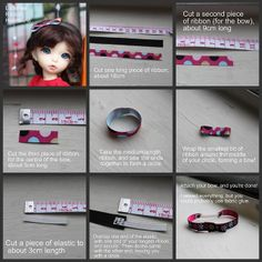 LittleFee Ribbon Hairband Tutorial | Flickr - Photo Sharing! Could easily adjust measurements for other dolls.
