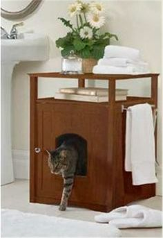Cat Litter Box Furniture | Buy Cat Washroom Litter Box Cover/Night Stand Pet House-Walnut online ...