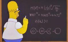 Los 10 mejores momentos matemáticos de 'Los Simpson' | Ciencia. Homer, frente a una ecuación que predice la masa del bosón de Higgs.