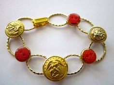 Marine Corps MOM or WIFE! Antique USMC BUTTON bracelet, one of a kind, by sewsandyshop