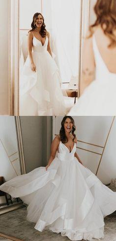 Simple White Long Wedding Dress, Straps V Neck White Wedding Dress Western Wedding Dresses, Wedding Dresses With Straps, Sexy Wedding Dresses, Princess Wedding Dresses, Wedding Gowns, Backless Wedding, Prom Dresses, How To Dress For A Wedding, V Neck Wedding Dress