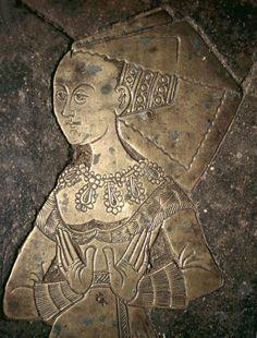 Brass effigy of Isabella Boleyn, wife of William Cheyne, 1485