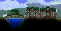Terraria--Advanced cottage with bridge Terraria House Design, Terraria House Ideas, Biomes, Pixel Art, Building A House, Building Ideas, Big Ben, Cool Pictures, Mansions