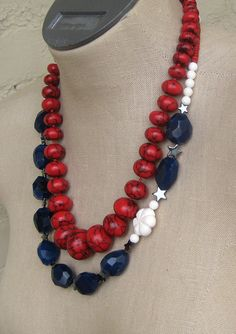 Stars and Stripes Red White and Blue Chunky by FiorellaJewelry, $48.00