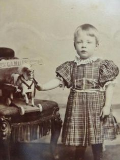 Antique-Cabinet-Card-old-Photo-1880s-Boy-Child-in-Plaid-Dress-w-Wooden-Horse-Toy