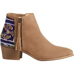 HOWSTY Tahira Vintage Kilim Bootie ($255) ❤ liked on Polyvore featuring shoes, boots, ankle booties, botas, booties, heels, ankle boots, tan cc, suede bootie and tan suede boots