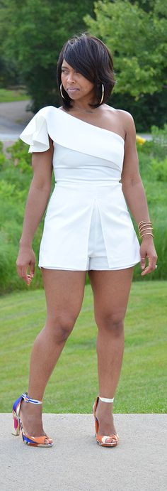 Romper, Summer Outfit, Cream Jumpsuit, Short Romper, Indianapolis Style Blogger