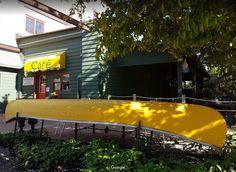 Yellow Canoe Cafe - Merrickville, Ontario Canoe, Ontario, Kayaking, Places Ive Been, Yellow, Travel, Curtains, Kayaks, Viajes