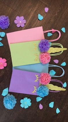 Custom Party Decorations/ Handmade Paper Flowers by CreationsbySulena UNICORN Birthday Party Favor Bags/ Goodie/ Goody/ Loot/ Candy/ Treat Bags/ Bag/ Supplies/ Decoration
