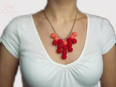 Valentine's Day NECKLACE Red  Crochet bead ball by AmazingDay, $36.00