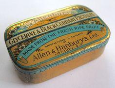 Allenburys Tin Glycerine Black Current Pastilles Allen Hanburys London #1