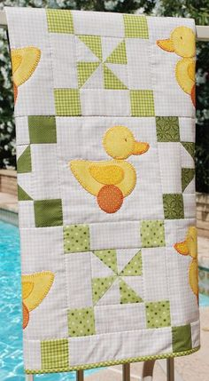 Charley, Dee, & Me: Ducky Baby Quilt. The ducks are raw-edge appliqued with machine button-hole stitching.