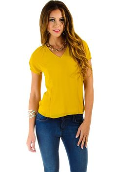 $16 at www.heavenlycouture.com Naked Zebra Sheer Layers Blouse in Mustard : Tops