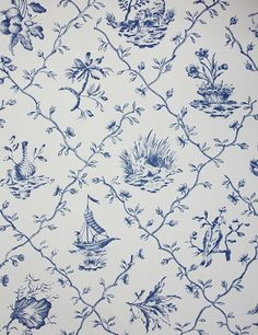 Pillement Wallpaper A toile wallpaper with a trellis design featuring small Japanese figures, buildings, animals, shells and flowers printed...