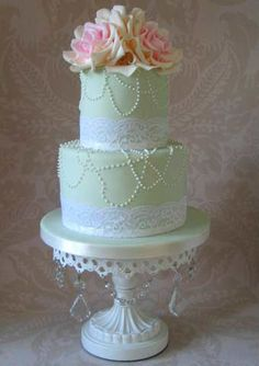 Pearls and Lace & Roses Wedding Cake~ 37