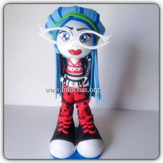 This is a handmade doll. She is made using foam sheets She is about 12inches weight of the decor is approx 08 oz. Is your child having a monster High theme party? Take a look at this fofucha doll. She can be an eye catching Centerpiece or caketopper. I can make custom fofuchas just get in contact with me. Like us at www.facebook.com/fofuchashandmadedolls #MonsterHigh #kidsBirthdayIdeas #Fofuchas