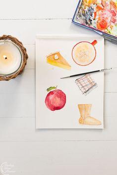 Cozy watercolor illustrations | Finding Silver Pennies #watercolor #art #stationery #artprints #framedart #newenglandartist #scituateartist #fallwatercolor #fallinspiration
