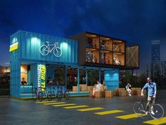 In Bangkok, Thailand, you can find the All ride cafe, a cafeteria for bike lovers that has been designed with shipping containers. Container Restaurant, Container Cafe, Container House Design, Container Office, Cafe Interior Design, Cafe Design, Sign Design, Tiny House Hotel, All Ride