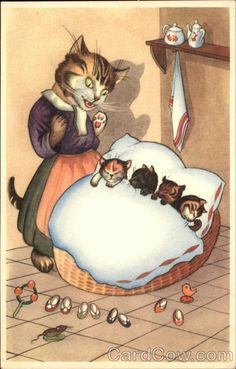 Mamma Cat singing a Lullaby to her Kittens (the cute little kitty shoes by the bed....)