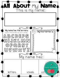 All about my name - first day of school activity from no prep back to school Kindergarten pack • Back to School Activies