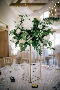 Romantic Wedding Breakfast in the Barn at Cotswold Wedding Venue, Hyde House & Barn White Floral Centerpieces, Gold Wedding Centerpieces, White Wedding Decorations, Wedding Flower Arrangements, Flower Centerpieces, Large Floral Arrangements, Wedding Ideas, Wedding Inspiration, Green And White Wedding Flowers