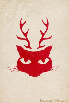 deer cat christmas card - a stencil art cat with antlers and big eyes - available as a beautiful gift card or t-shirt