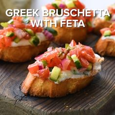 Greek Bruschetta with Feta – This appetizer recipe is loaded with flavor. Toasted bread – crostini- coated in a creamy feta spread and topped with tomato, cucumber, and red onion seasoned with Greek Vinaigrette. Best Appetizer Recipes, Appetizers For Party, Appetizer Ideas, Greek Appetizers, Dinner Recipes, Christmas Appetizers, Appetizers On Skewers, Nibbles Ideas, Canapes Ideas