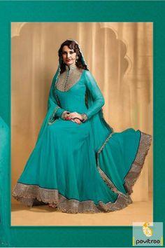 Pavitraa Turquoise Floor Length #Bridal #Anarkali #Salwar Suit Rs 4533.3