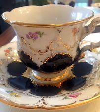 German Antique Tea Cups Saucers | Antique Meissen China Tea Set 2 cups/saucers/plates 1 milk decanter ...