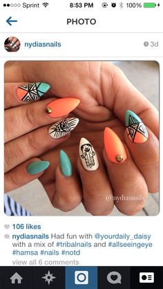 Tribal nails with a hamsa and an all seeing eye