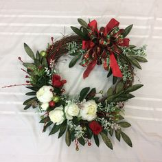 Christmas Wreath for Front Door, Festive Holiday Wreath, Wreath with Peonies, Red and Green Christmas Wreath Christmas Wreaths For Front Door, Holiday Wreaths, Holiday Decor, Etsy Wreaths, Green Christmas, Holiday Festival, Peonies, Festive, Handmade Gifts