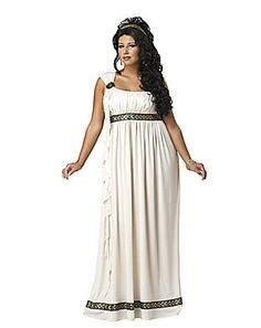 Plus Size Olympic Goddess Costume - She watches over her people from the heights of Mt Olympia. The plus size, Olympic Goddess costume includes a long dress with one shoulder silhouette, shoulder medallion and matching headband. Meme Costume, Costume Dress, Costume Wigs, Greek Goddess Dress, Greek Goddess Costume, Grecian Goddess, Greek Dress, Grecian Gown, Plus Size Halloween